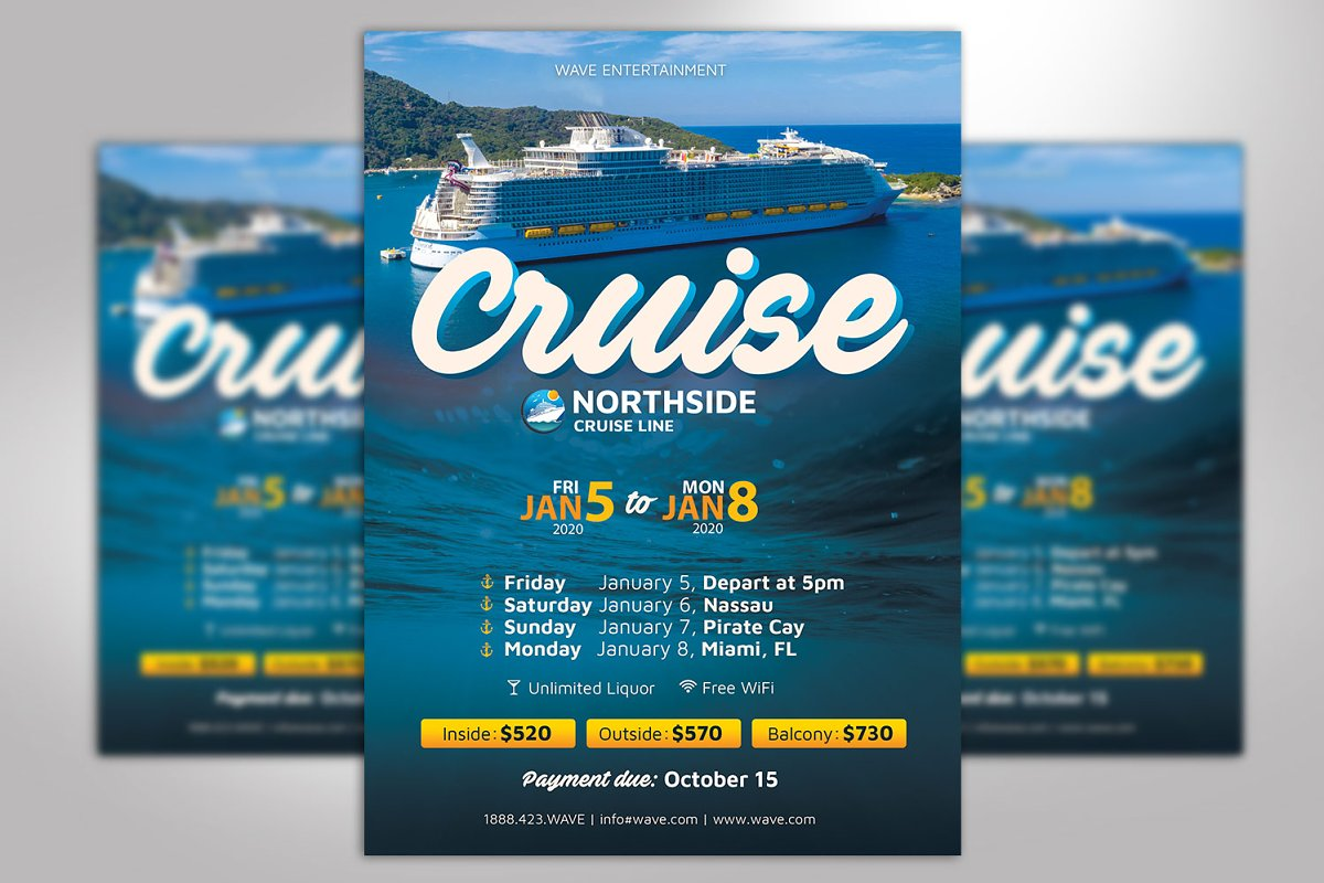 Cruise Flyer Photoshop Template ~ Flyer Templates ~ Creative Market