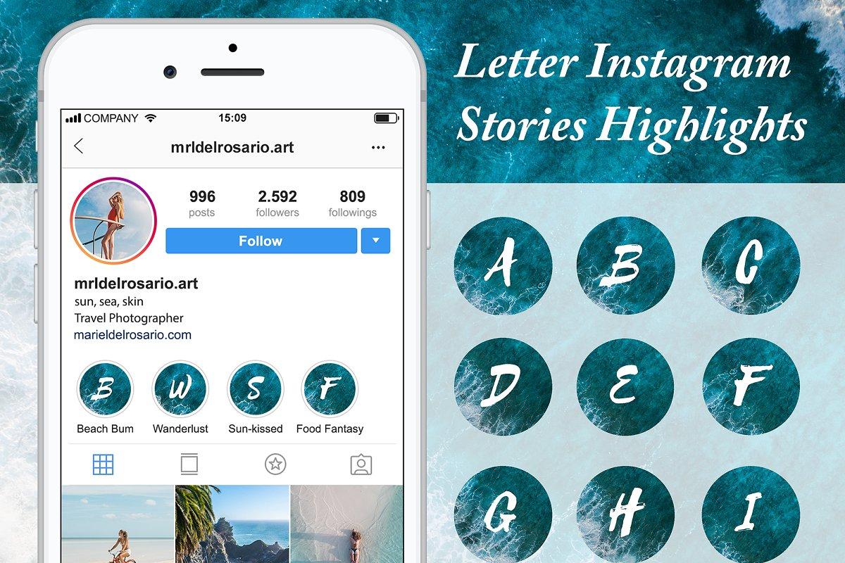 Letter Instagram Story Highlights in Instagram Templates