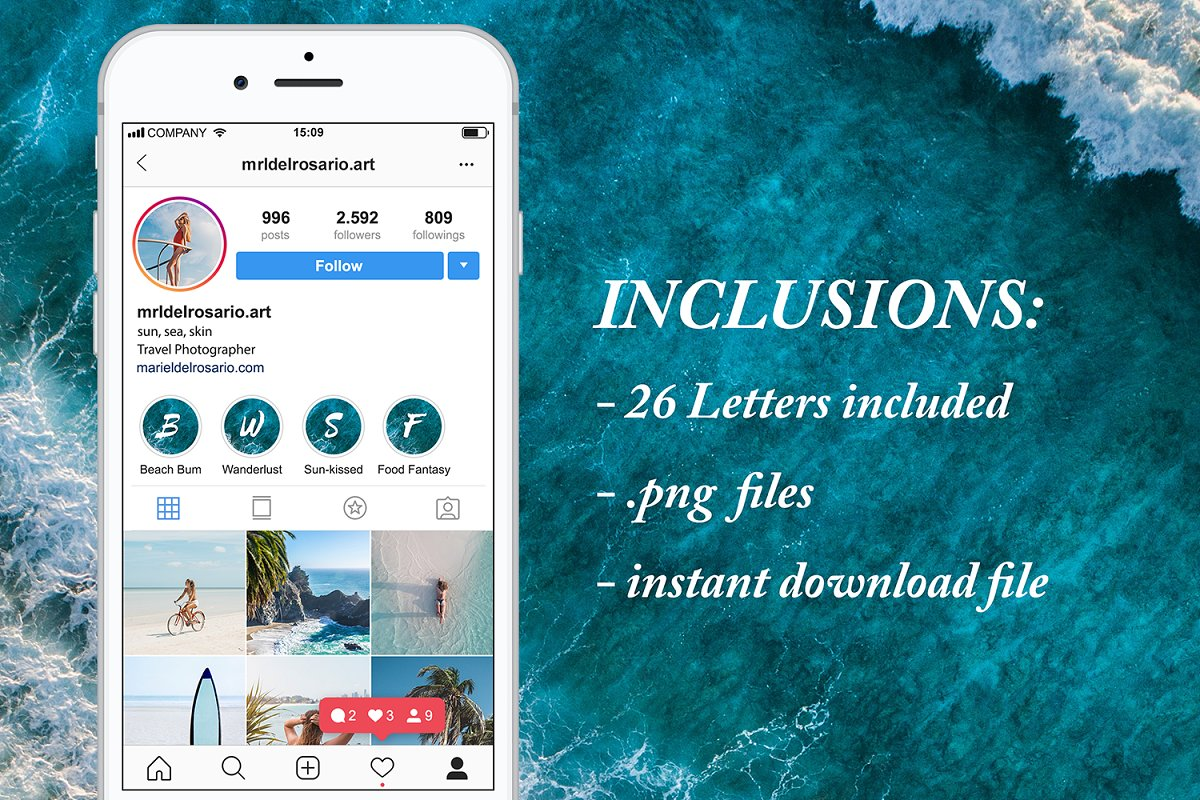 Letter Instagram Story Highlights in Instagram Templates - product preview 1