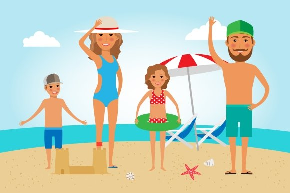 Family Beach Vacation ~ Graphics ~ Creative Market