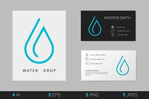 Water Drop Logo. Vector Template