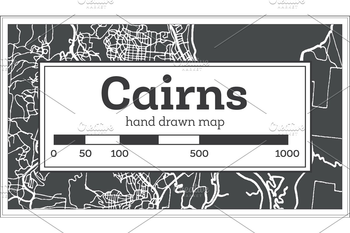 Australia Map Cairns.Cairns Australia City Map In Retro Illustrations Creative Market