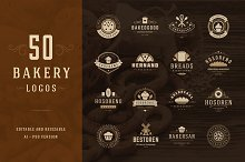 50 Bakery Logotypes and Badges