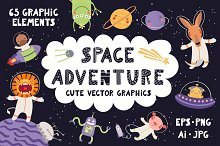 Space Adventure, Cute Vectors