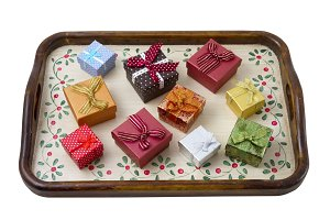 Tray with gift boxes