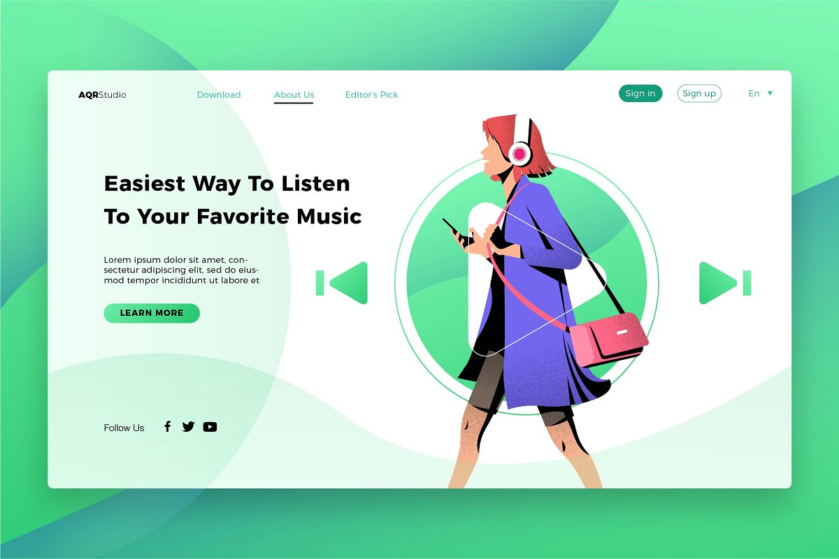 Easy Music - Banner & Landing Page