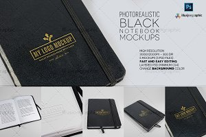 Photorealistic Black Notebook Mockup