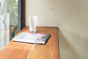Magazine on table bar