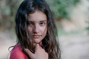 Portrait of cute teenage girl