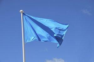 Blue flag waving