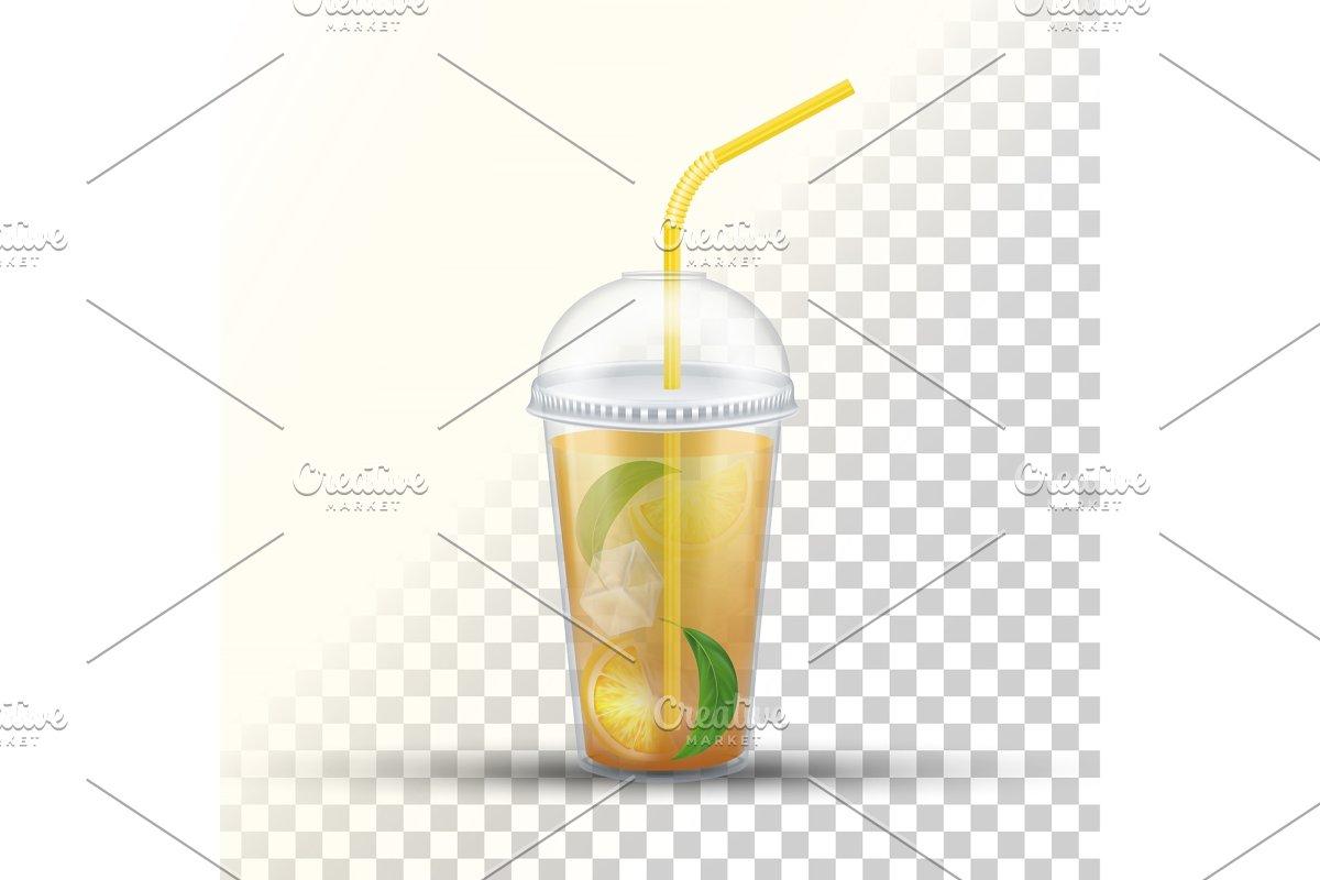 Ice Tea Plastic Takeaway Vector 3D in Illustrations