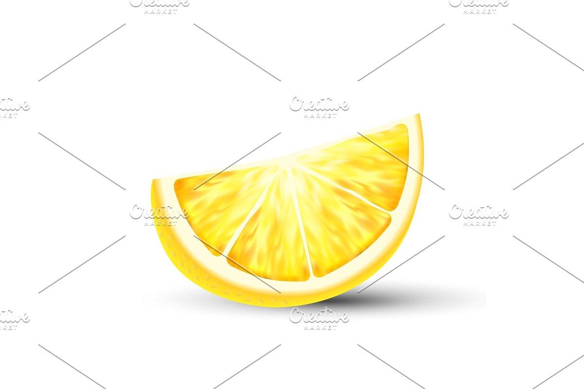 Fresh Juicy 3D Vector Lemon Slice