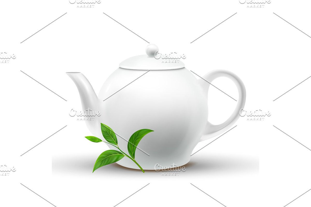 Ceramic White Teapot With Vector