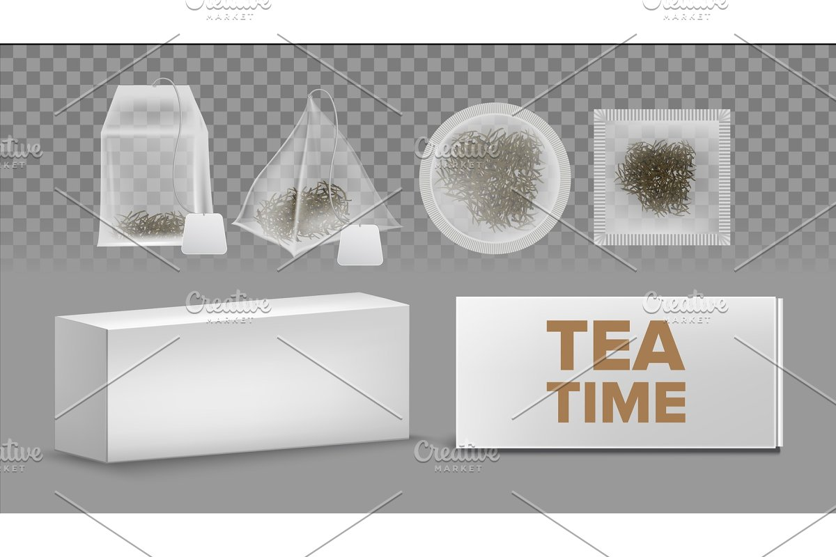 Teabags Mockups With Labels Various