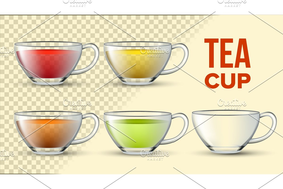 Tea Cups With Color Liquid Vector 3D