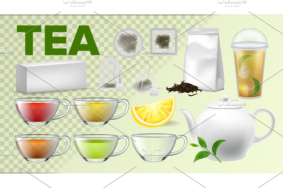 Tea Cups And Pot Kitchenware Vector