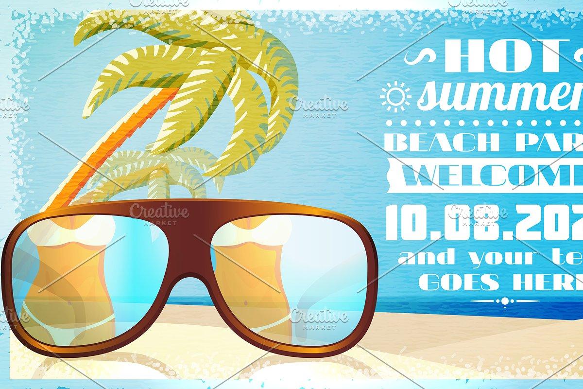 Vector Summer Beach Party Invitation Illustrations Creative Market