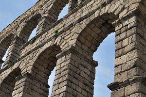 Aqueduct arches. Segovia. Spain