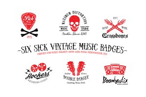 SIX SICK VINTAGE MUSIC BADGES