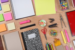 Back to School Supplies on Desk