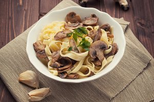 Italian Food - Noodles with mushroom