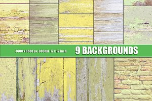 Painted wood texture yellow green
