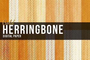 20 Gold Herringbone Pattern
