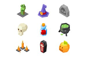 Halloween Isometric Icons Set