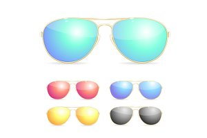 Aviator Colorful Sunglasses Set.