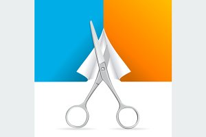 Scissors Cut Paper. Vector