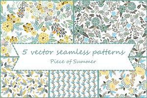 Set of 5 seamless flowers patterns