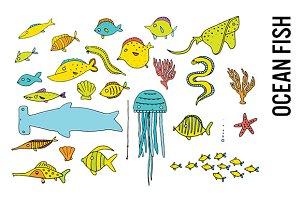 Ocean Fish Doodle Clip Art