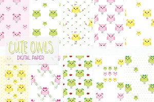 owls digital paper