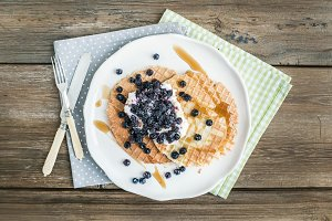 Waffles with fresh blueberry