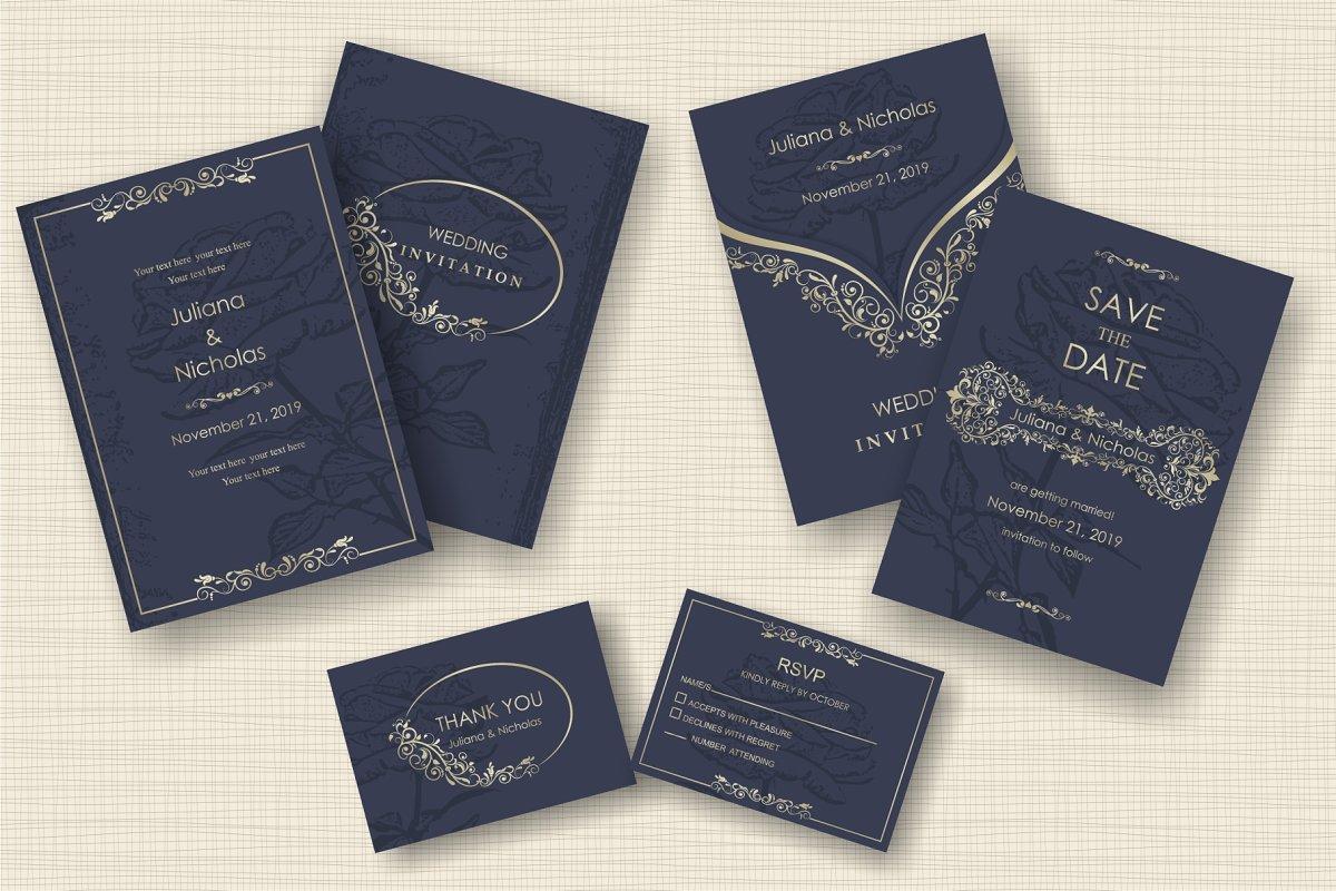 Wedding Invitation set | Creative Invitation Templates ~ Creative ...