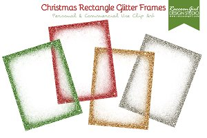Christmas Rectangle Glittery Frames
