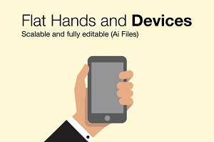 Flat Hands Holding Devices (vector)