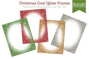 Christmas Oval Glittery Frames