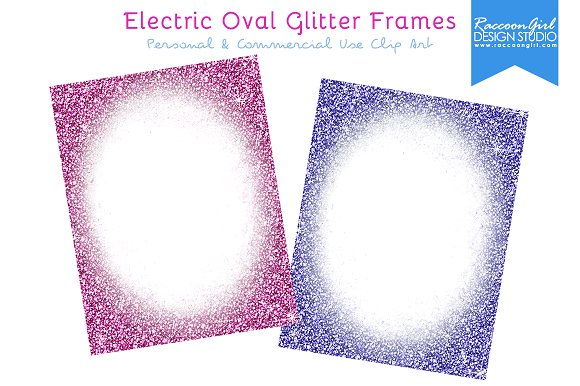 electric oval glitter frames illustrations on creative market