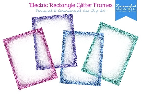 Electric Rectangle Glitter Frames ~ Illustrations ~ Creative Market