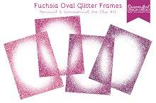Fuchsia Oval Glitter Frames