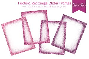 Fuchsia Rectangle Glitter Frames