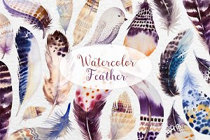 Watercolor BOHO feather DIY II