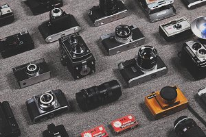 Cameras organised neatly
