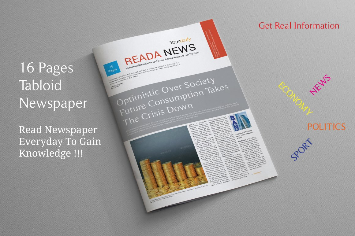 16 Pages Tabloid Newspaper Magazine Templates Creative Market