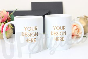 Two White Mugs Mock Up F166