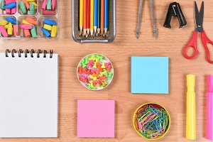 Closeup of School Supplies