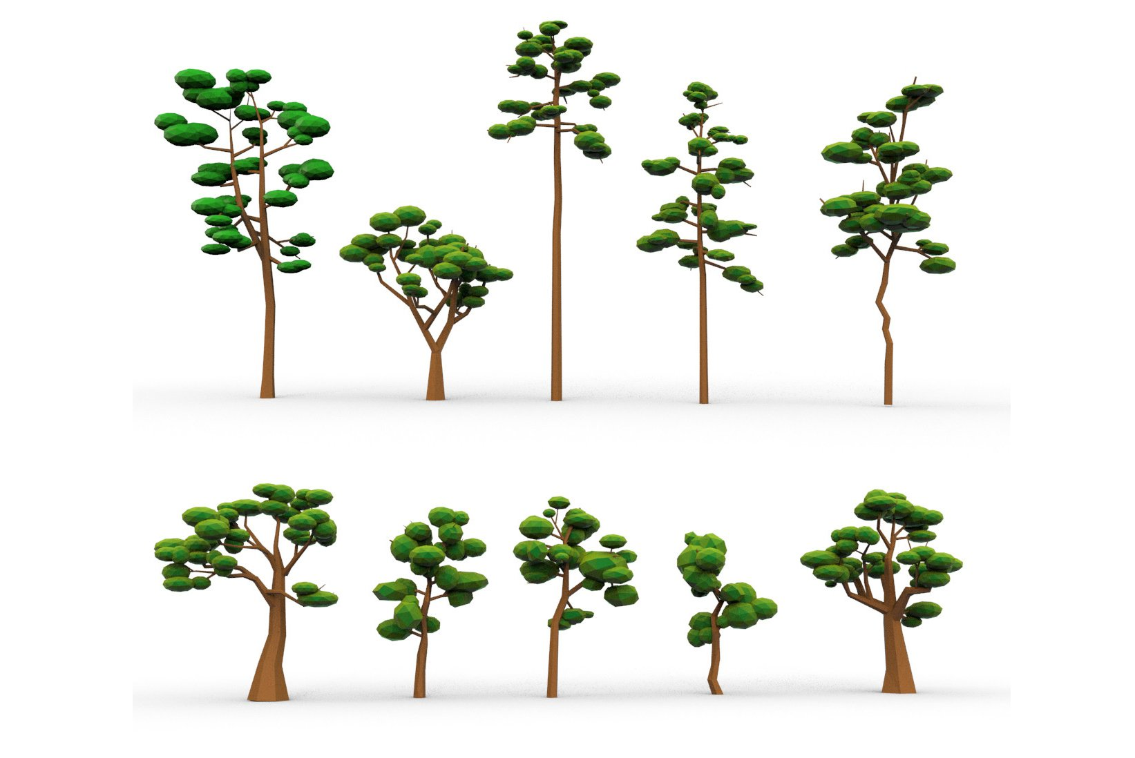 10 Low Poly Cartoon Tree