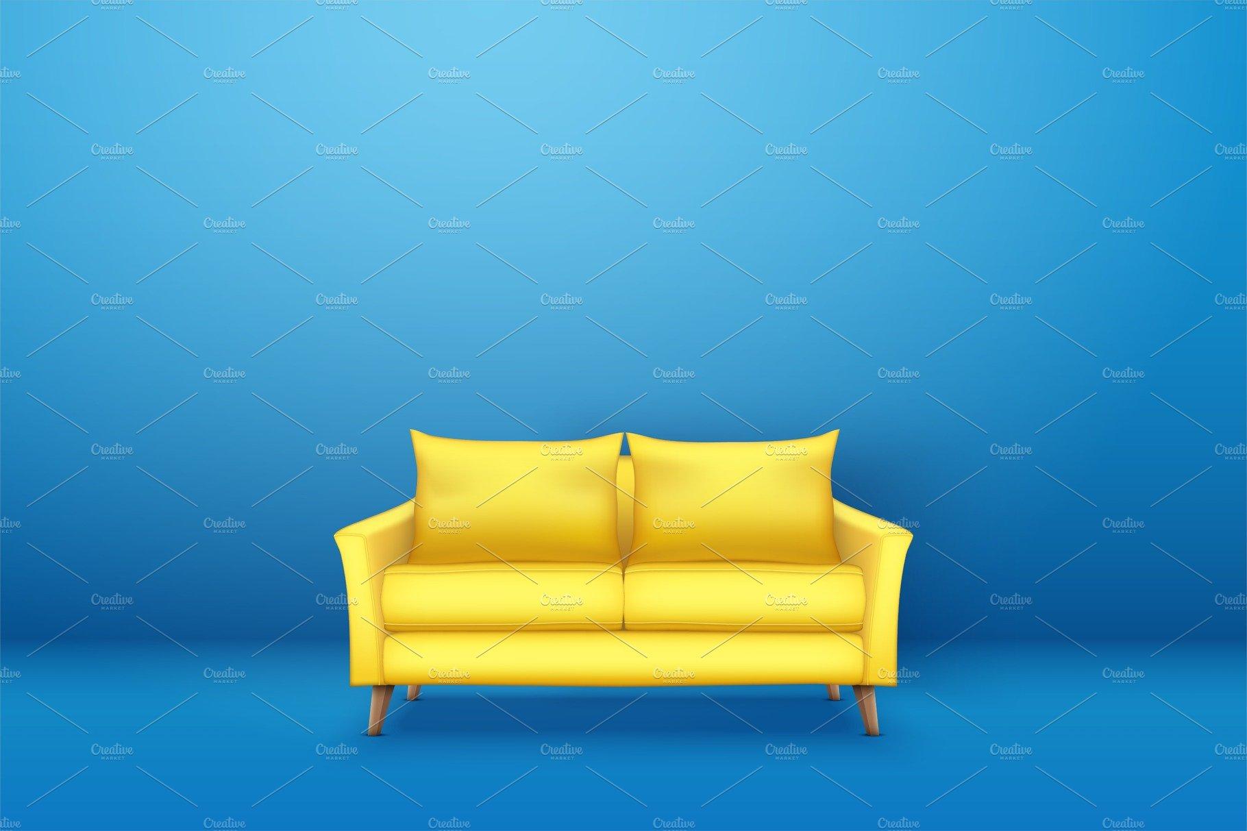 Interior of Modern yellow soft sofa