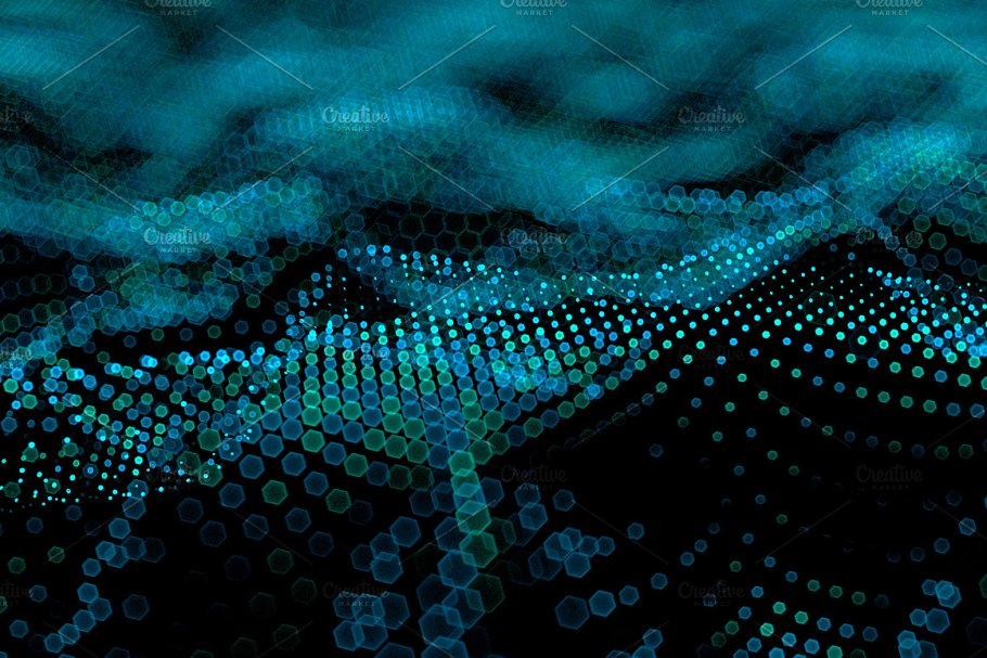 Abstract Big Data Futuristic Light Illustrations